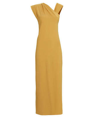 Flavia One-Shoulder Crepe Gown, YELLOW, hi-res