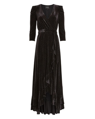 Flora Rhinestone Velvet Wrap Dress, BLACK, hi-res