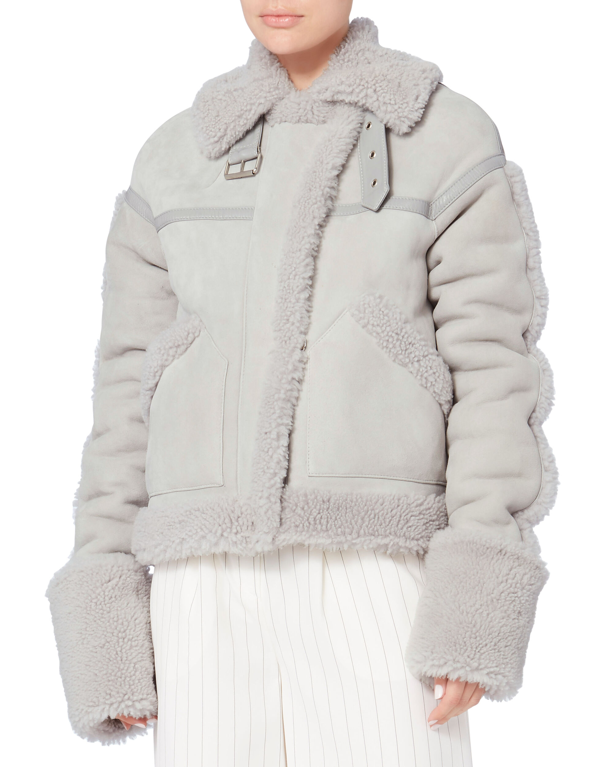 Oversized Shearling Coat, GREY, hi-res