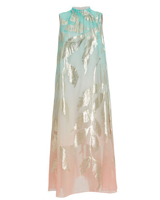Gold Leaf Midi Dress, BLUE/PINK/GOLD, hi-res
