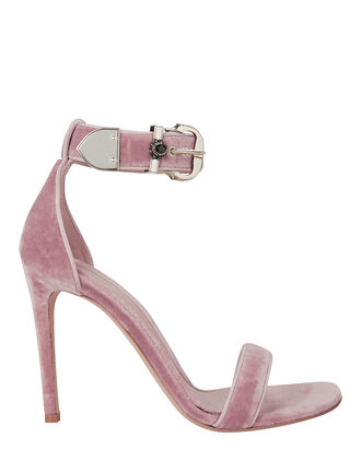 Velvet Stiletto Sandals, PINK, hi-res