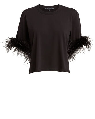 Wanda Feather-Trimmed T-Shirt, BLACK, hi-res