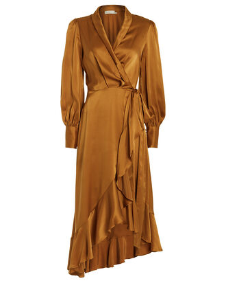 Espionage Silk Wrap Dress, AMBER, hi-res
