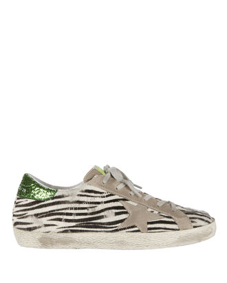 Superstar Zebra Haircalf Sneakers, PRINT, hi-res