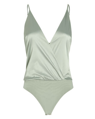 Satin Camisole Bodysuit, MINT, hi-res