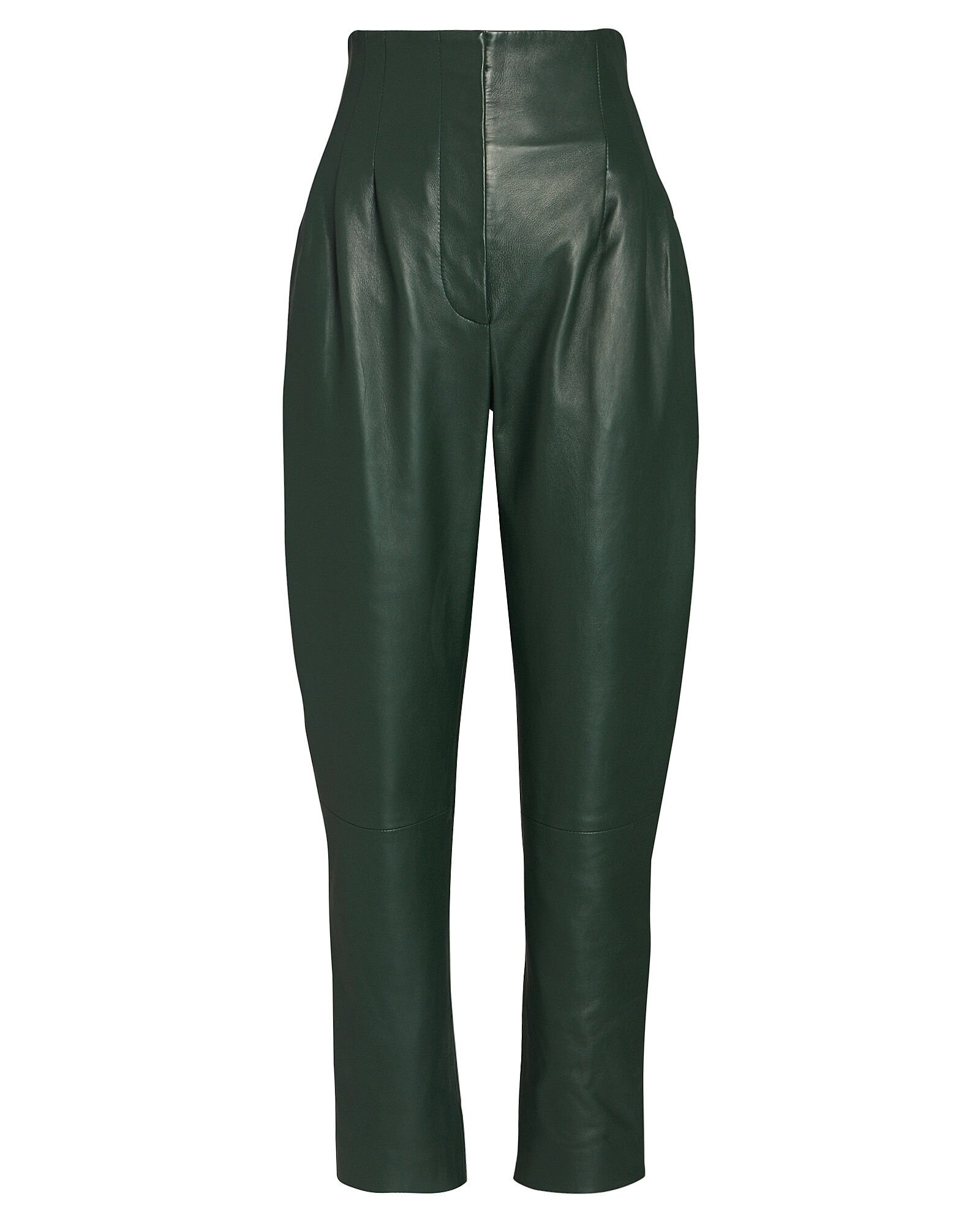 Tapered High-Waist Leather Pants, GREEN, hi-res