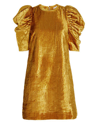 Callahan Corduroy Puffed Shoulder Dress, GOLD, hi-res