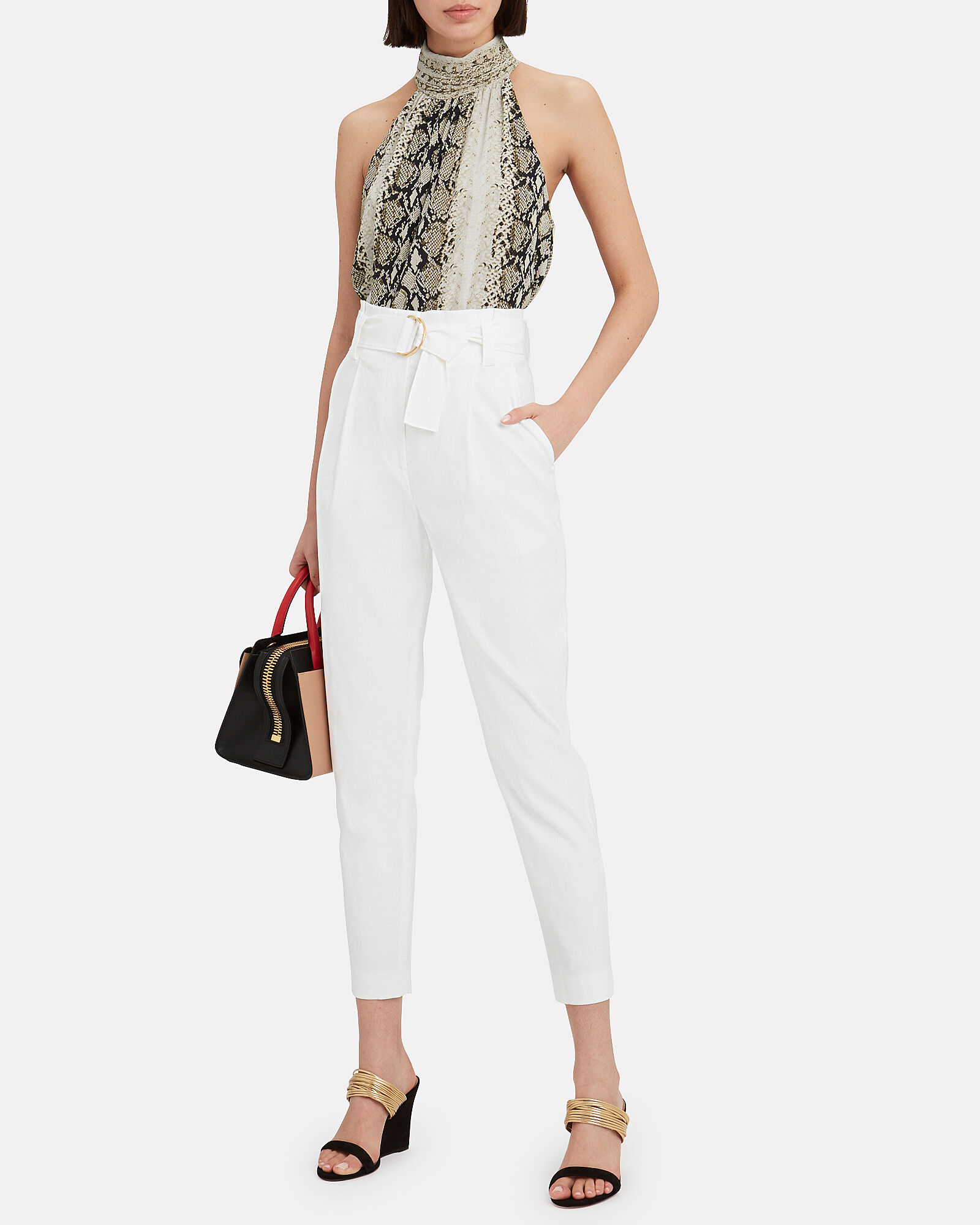 Diego Tapered Paperbag Trousers, WHITE, hi-res