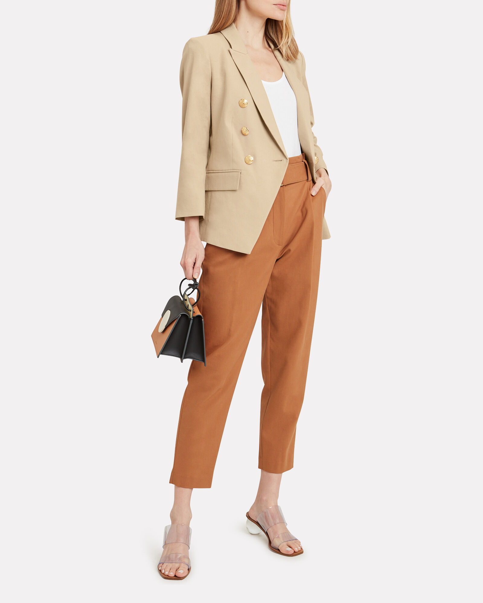 Empire Double Breasted Dickey Blazer, BEIGE, hi-res