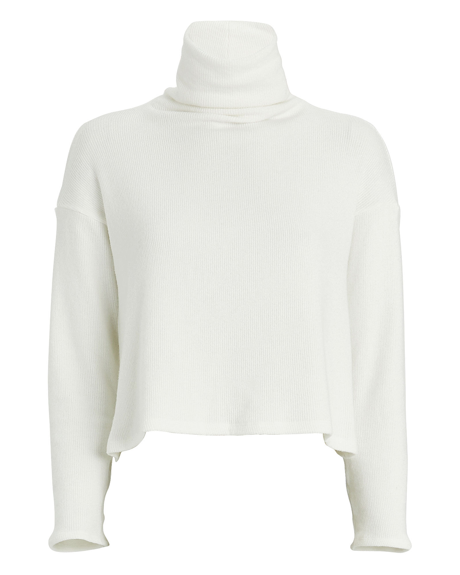 Cropped Ribbed Turtleneck Sweater, WINTER WHITE, hi-res
