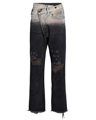 Crossover Distressed Jeans, FADED BLACK, hi-res