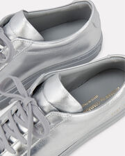 Achilles Metallic Leather Sneakers, SILVER, hi-res