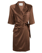 Amar Satin Wrap Shirt Dress, BROWN, hi-res