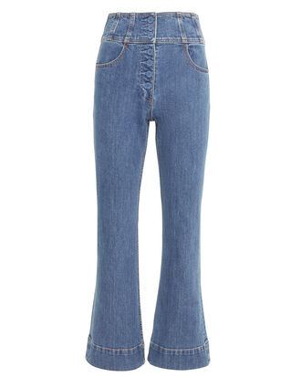 Ellis Flare Button Front Jeans, DENIM, hi-res