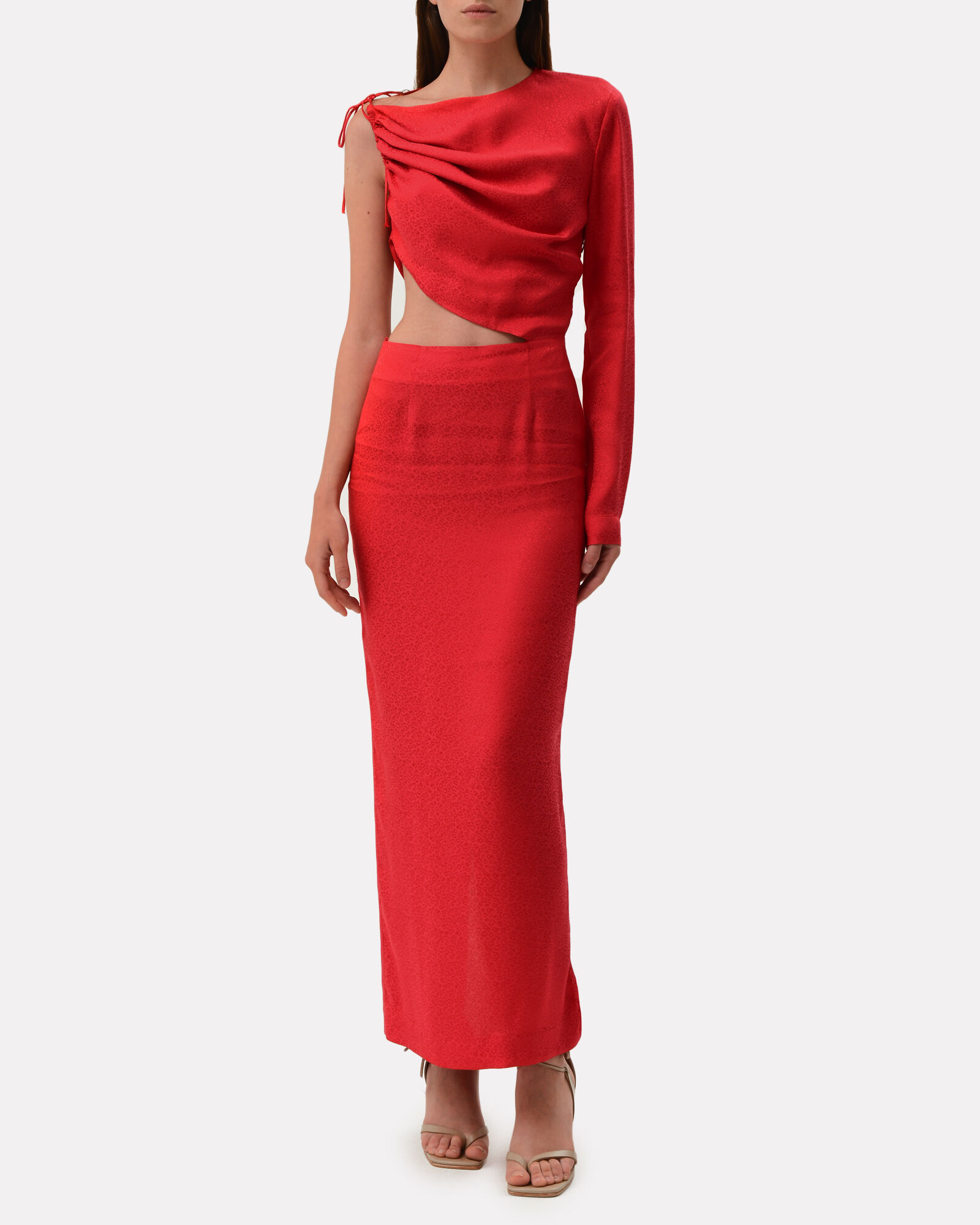 Leo Cut-Out Satin Jacquard Dress, RED, hi-res