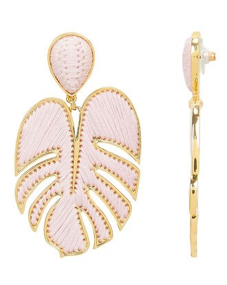 Blush Leaf Earrings, GOLD/PINK, hi-res