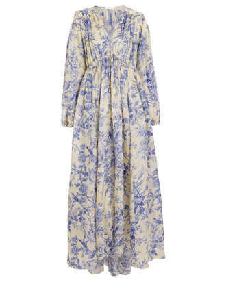 Verity Crepe Silk Floral Dress, IVORY/BLUE FLORAL, hi-res