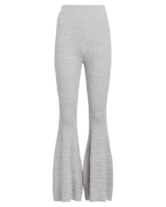 Gerri Flared Rib Knit Pants, GREY-LT, hi-res