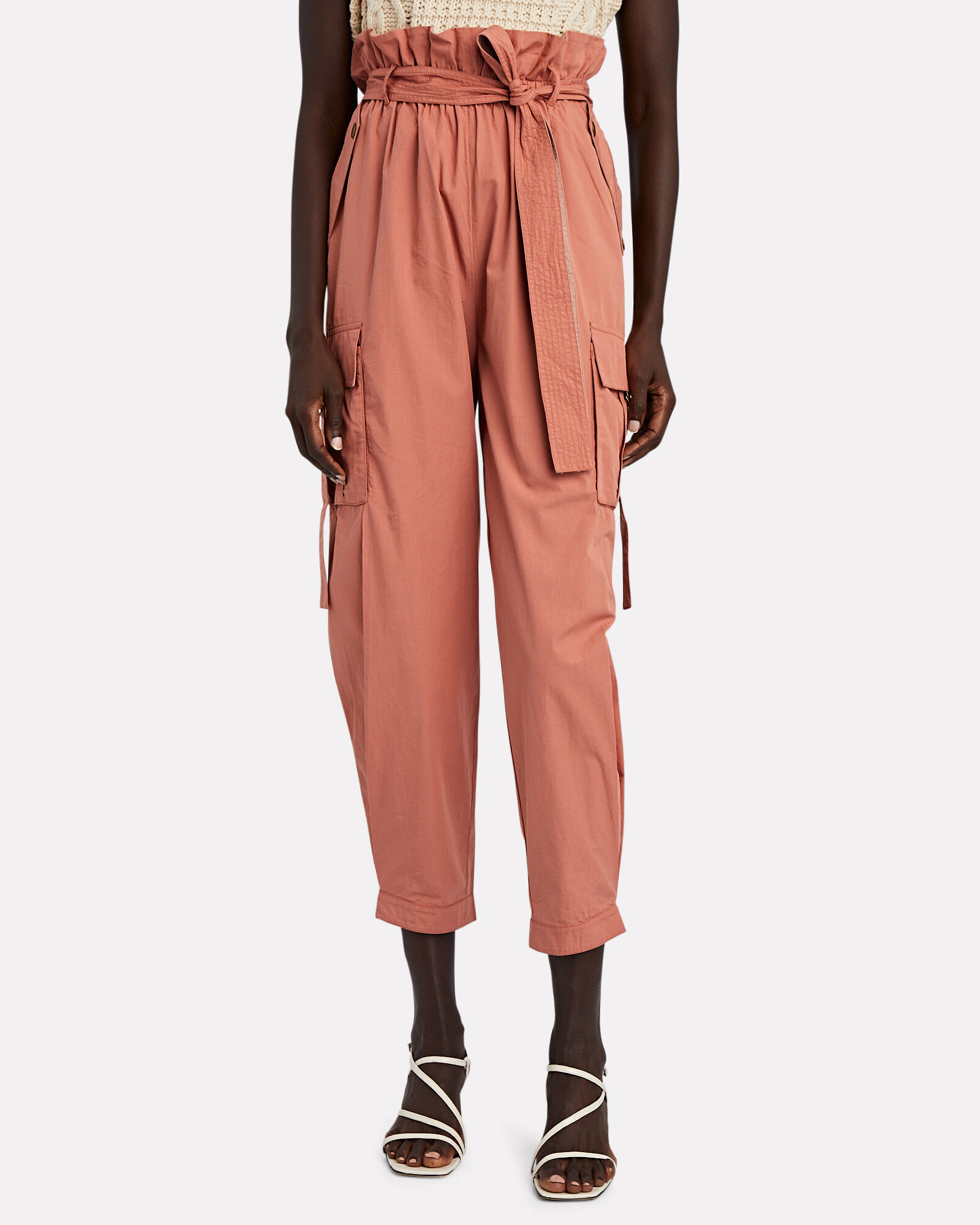 Willett Paperbag Cargo Trousers, BROWN, hi-res