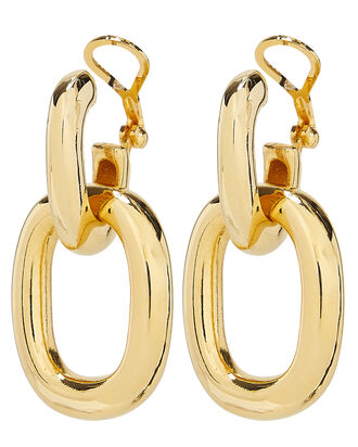 Polished Gold Doorknocker Earrings, GOLD, hi-res