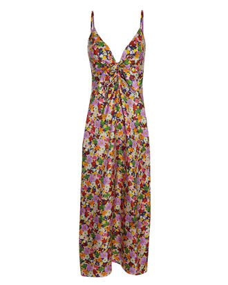 Flora Silk Twill Midi Dress, NAVY/PINK, hi-res