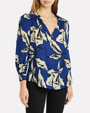 Milan Puff Sleeve Blouse, BLUE/FLORAL, hi-res