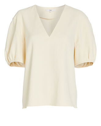 Chalky Drape V-Neck Top, CREAM, hi-res