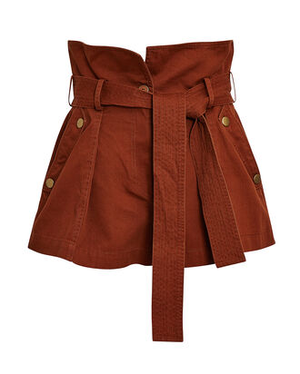 Elliott Tie-Waist Cotton Shorts, BROWN, hi-res