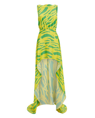Rajiya Silk Citrus Printed Dress, CITRUS, hi-res