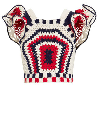 Caia Knit Top, Red/Navy/Ivory, hi-res