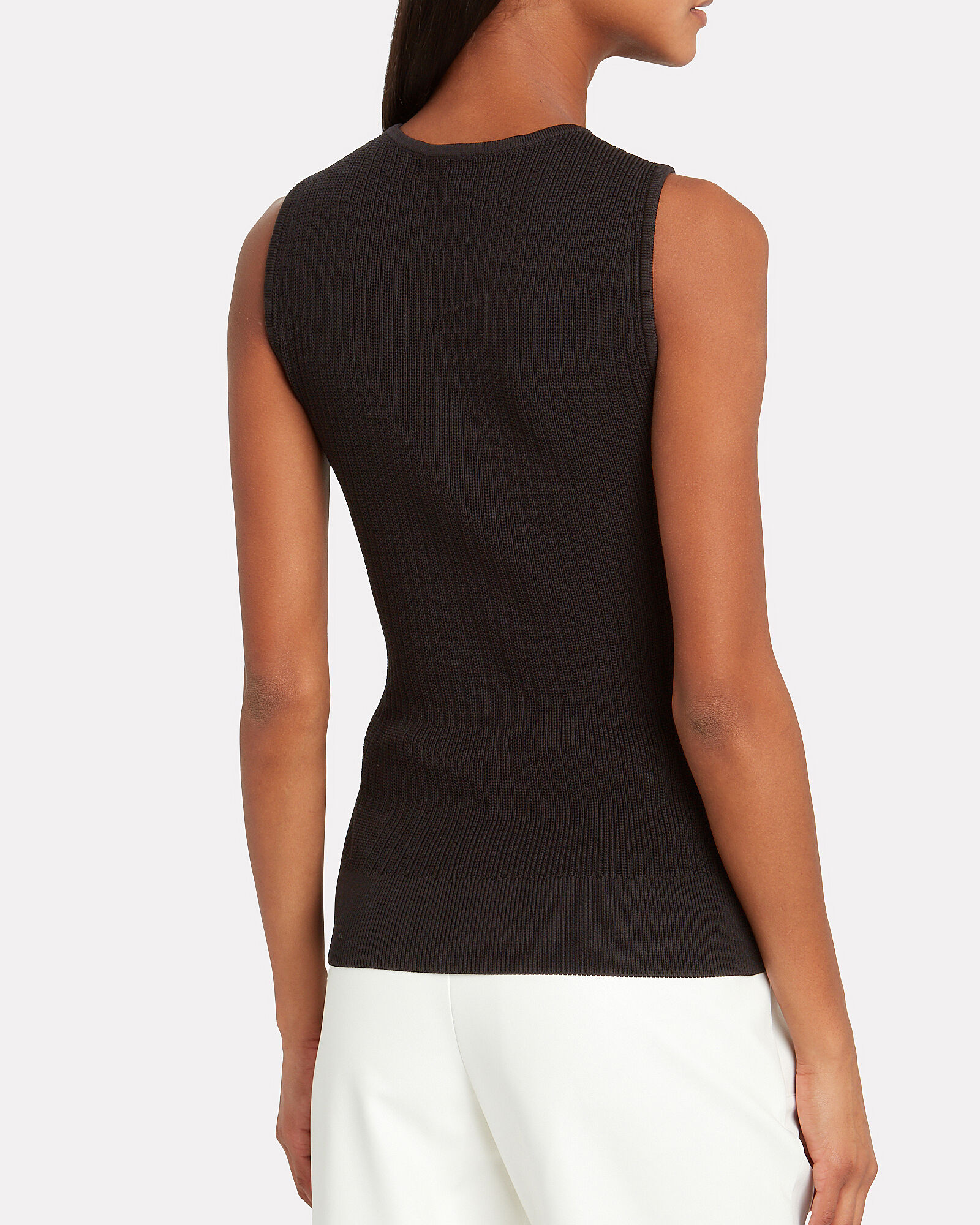 Crossover Rib Knit Tank Top, BLACK, hi-res