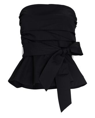 Jolene Strapless Poplin Wrap Top, BLACK, hi-res