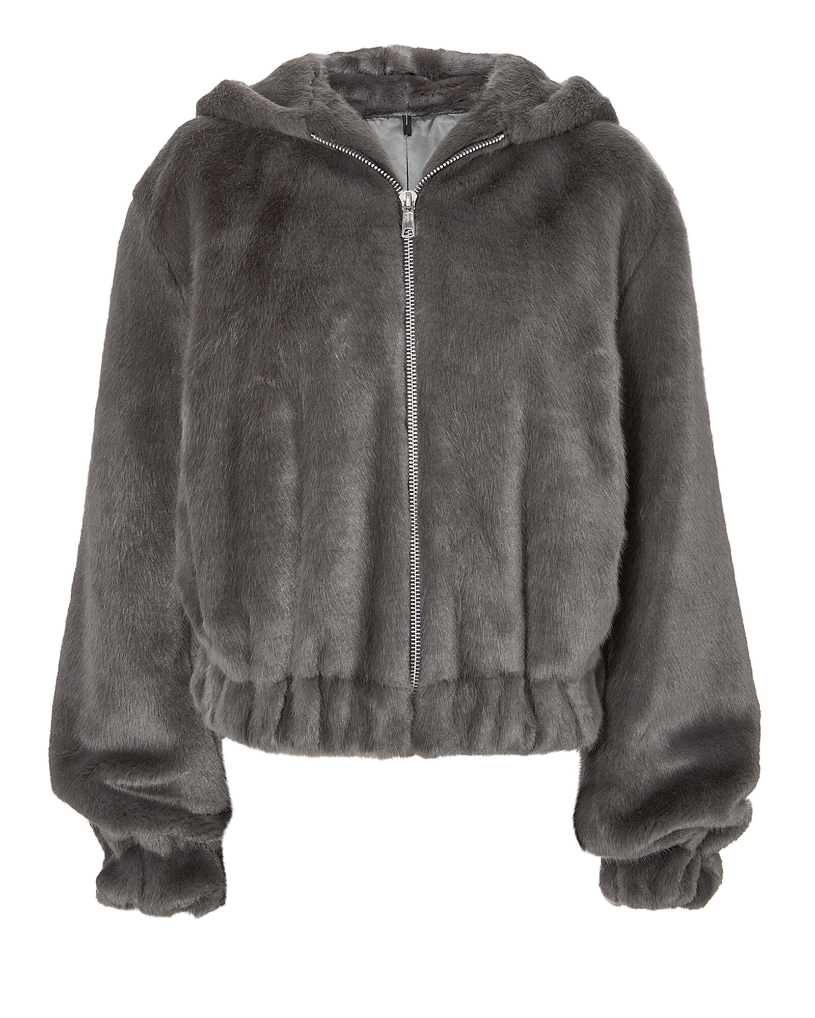 35ee10a62c7 Grey Faux Fur Hooded Bomber Jacket