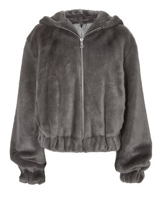 Grey Faux Fur Hooded Bomber Jacket, GREY, hi-res