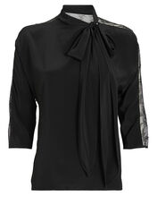 Crepe & Lace Tie Neck Blouse, BLACK, hi-res