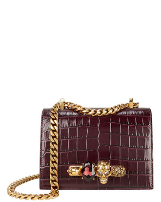 Croc Embossed Jewel Ring Crossbody, BURGUNDY, hi-res