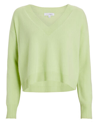 Elroy V-Neck Cashmere Sweater, GREEN-LT, hi-res