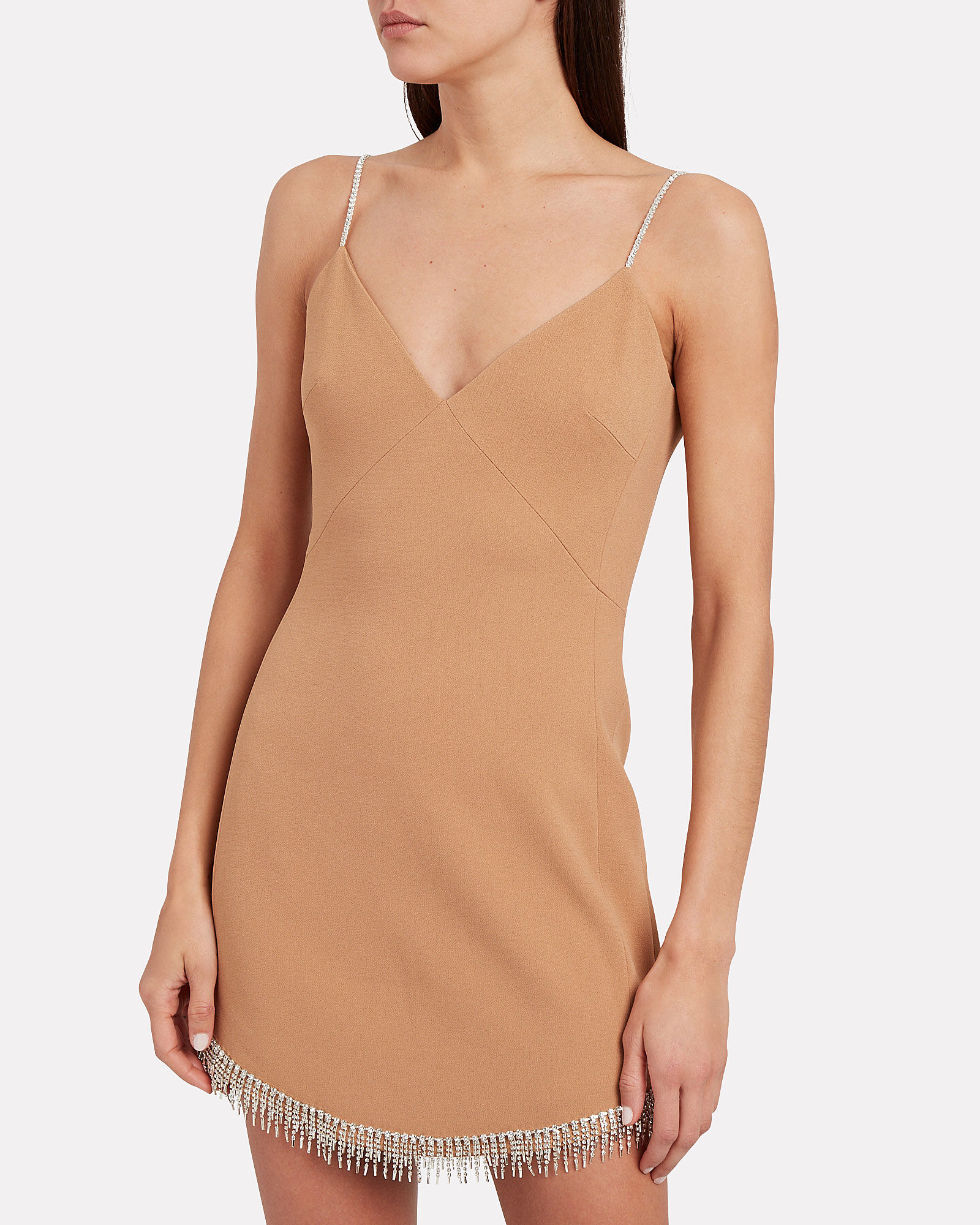 Embellished Crepe Mini Dress, BEIGE, hi-res