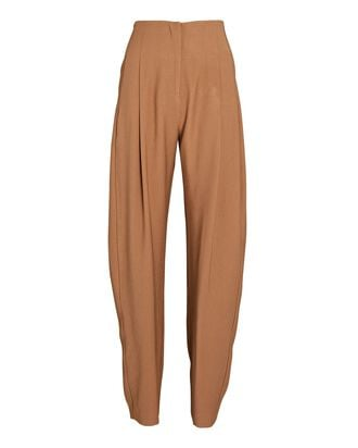 Pleated High-Rise Trousers, BROWN, hi-res