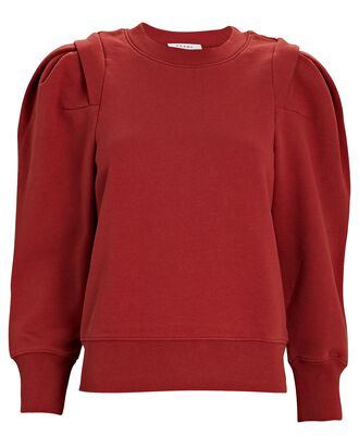 Pleated Cotton-Blend Sweatshirt, RED, hi-res