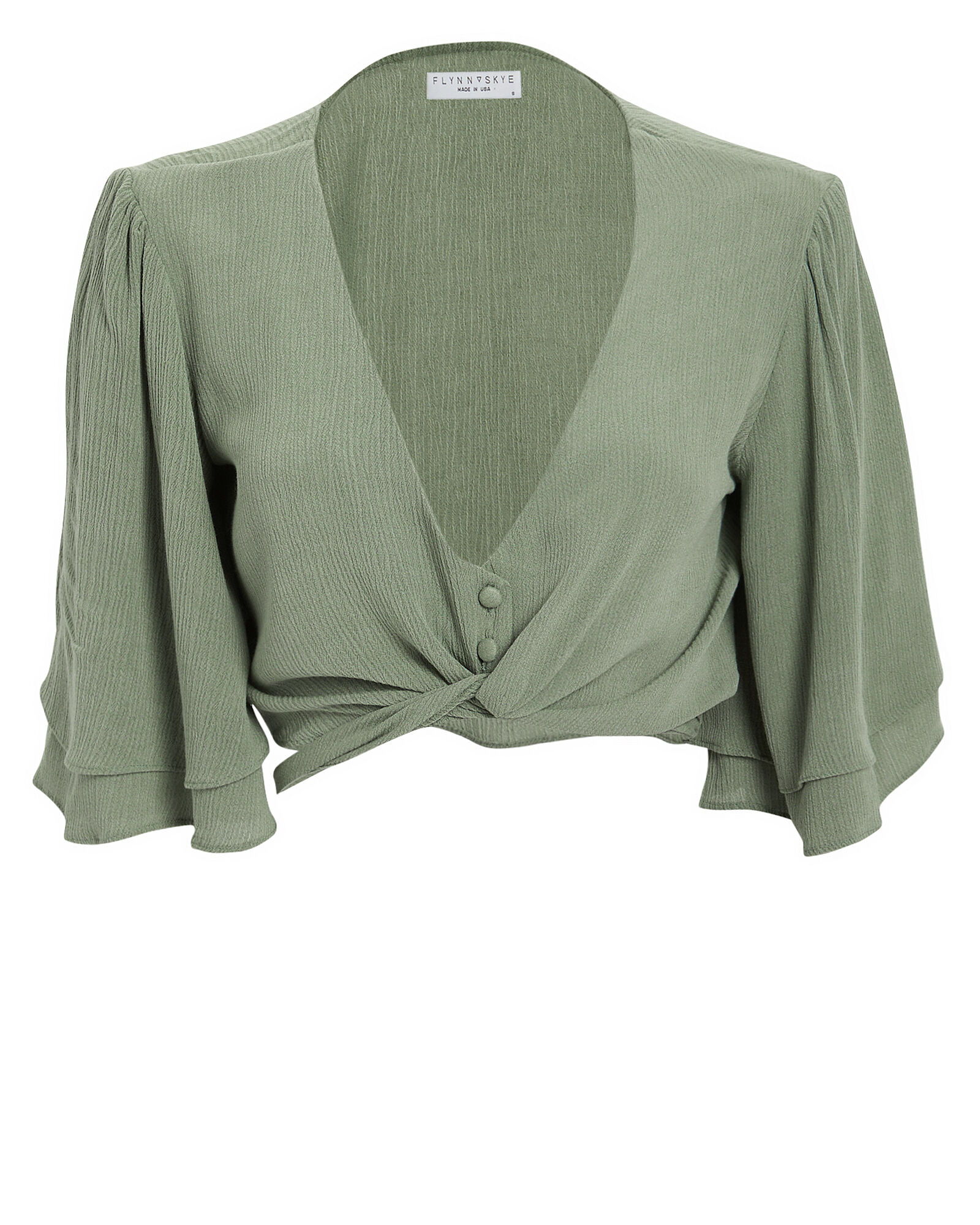 Lilly Tie Front Top, GREEN-LT, hi-res
