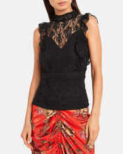 Victorian Lace Sleeveless Blouse, BLACK, hi-res