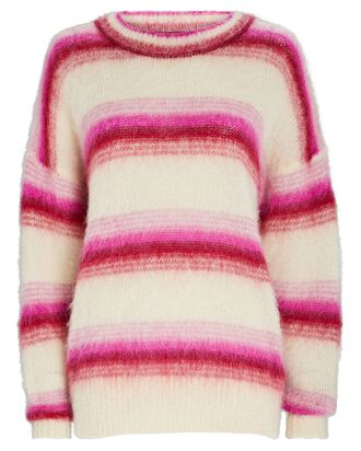 Drussell Striped Mohair-Blend Sweater, PINK/CREAM, hi-res