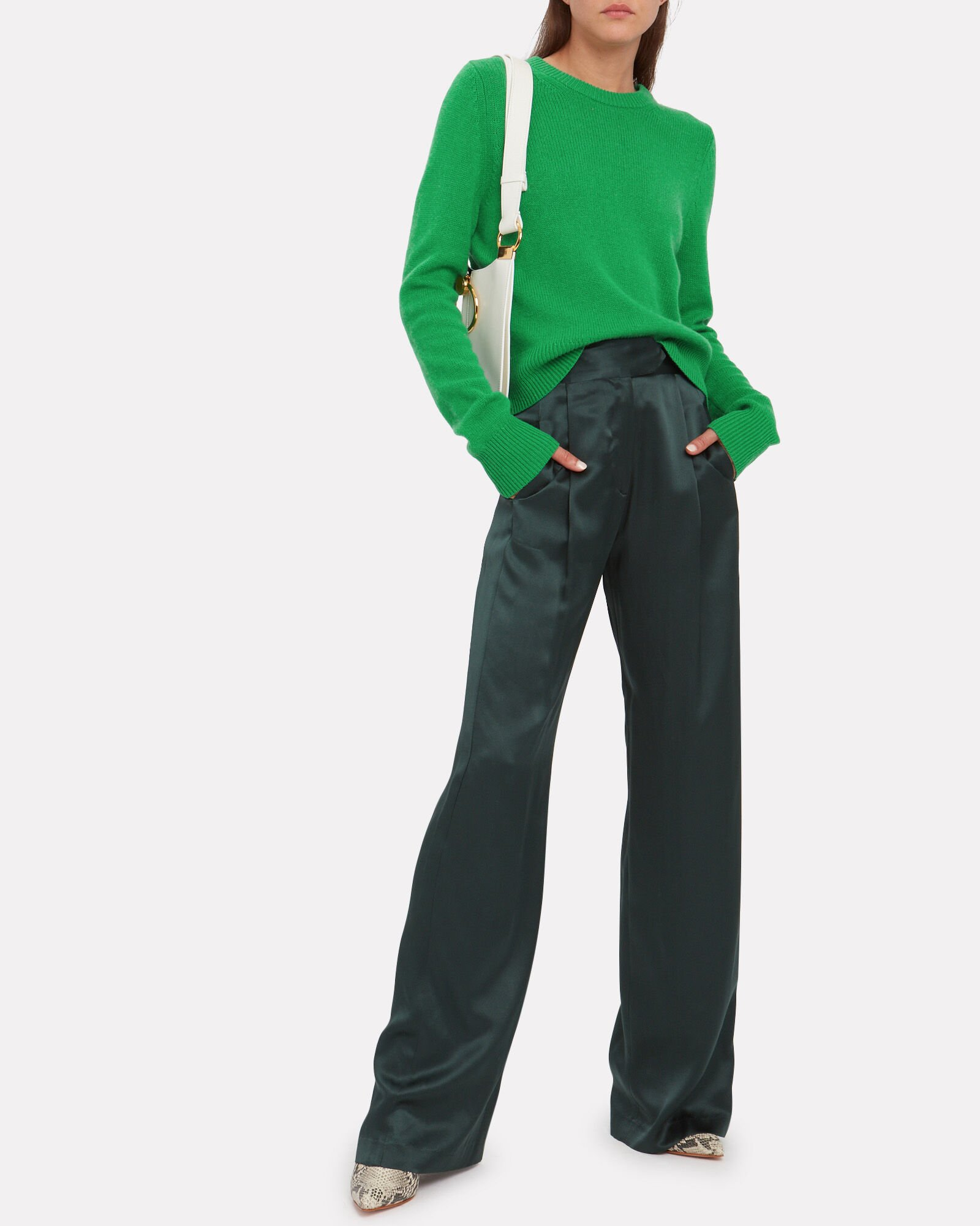 Wooster Wool Cashmere Cropped Sweater, GREEN, hi-res