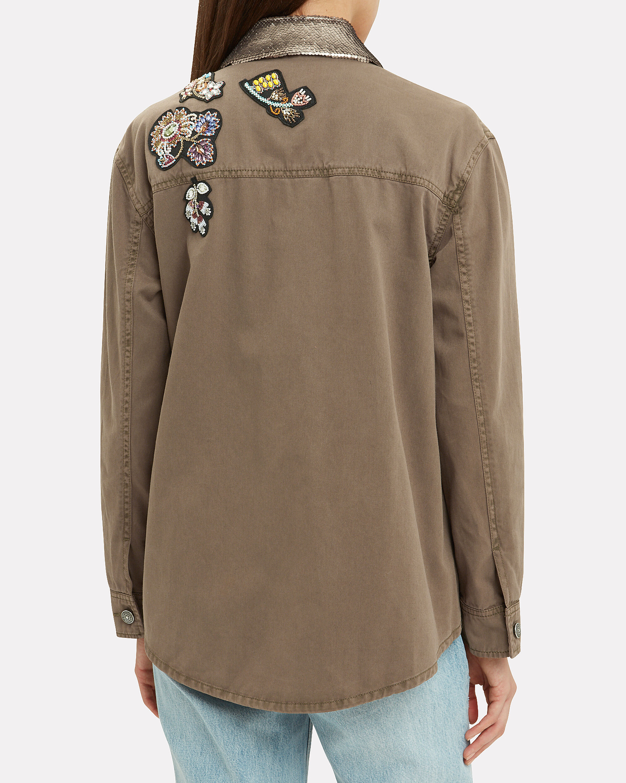 Canyon Patch Sequin Collar Cargo Jacket, OLIVE/ARMY, hi-res