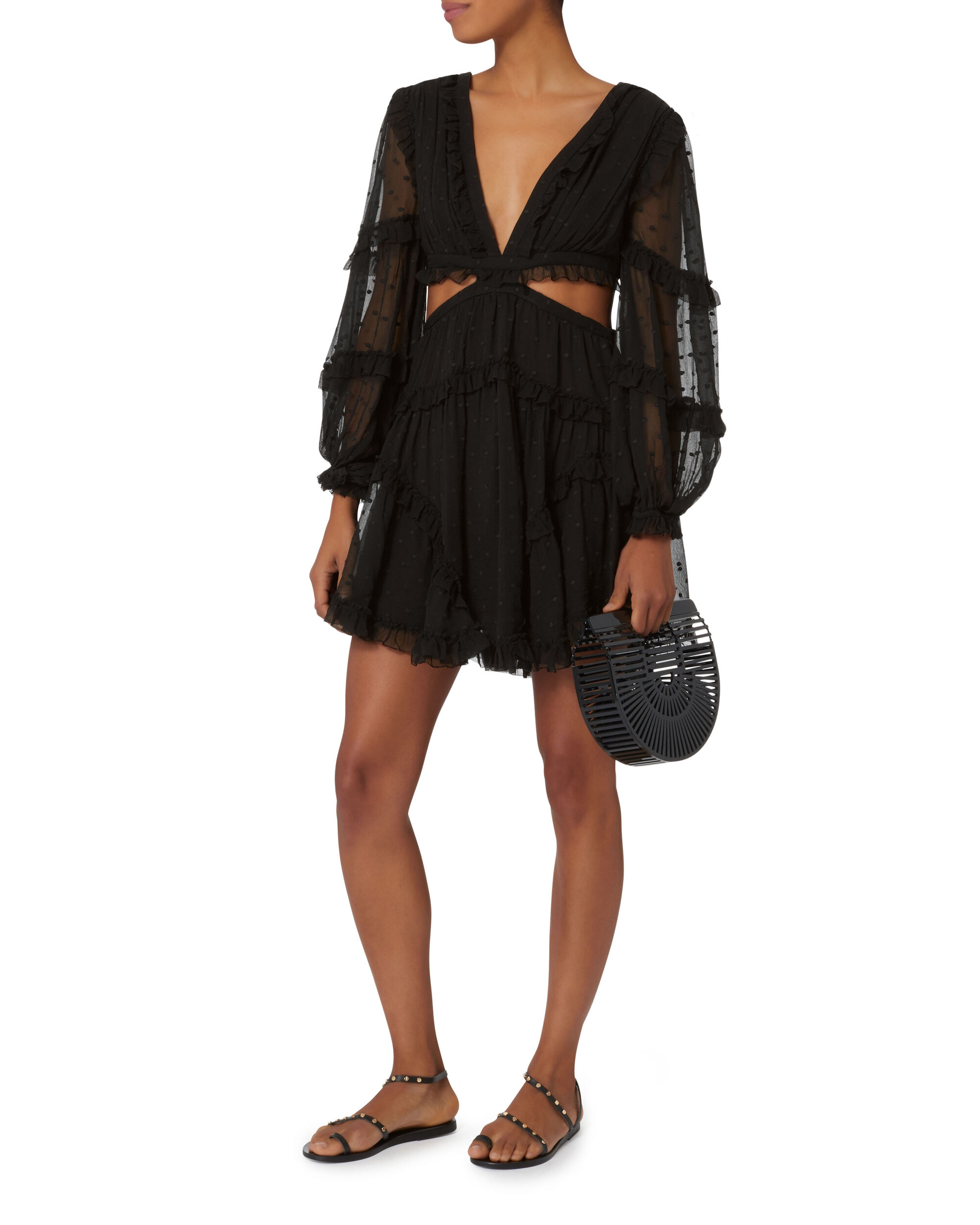 Prima Floating Cutout Dress, BLACK, hi-res