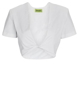 Keila Cropped Twist Front T-Shirt, WHITE, hi-res