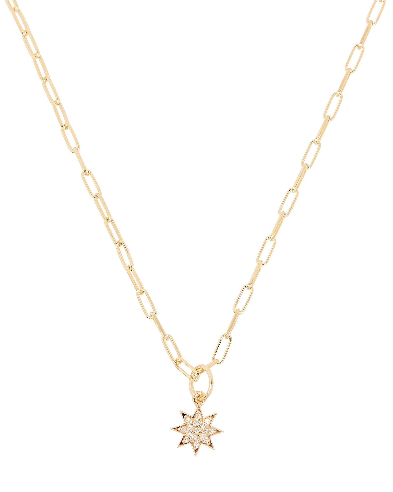 Crystal Star Chain Link Necklace, GOLD, hi-res