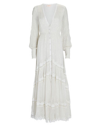 Ame Lace-Trimmed Maxi Dress, IVORY, hi-res