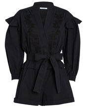 Embroidered Puff Sleeve Romper, BLACK, hi-res